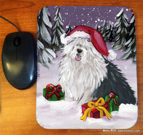 """Merry Christmas"" Old English Sheepdog Mousepad"