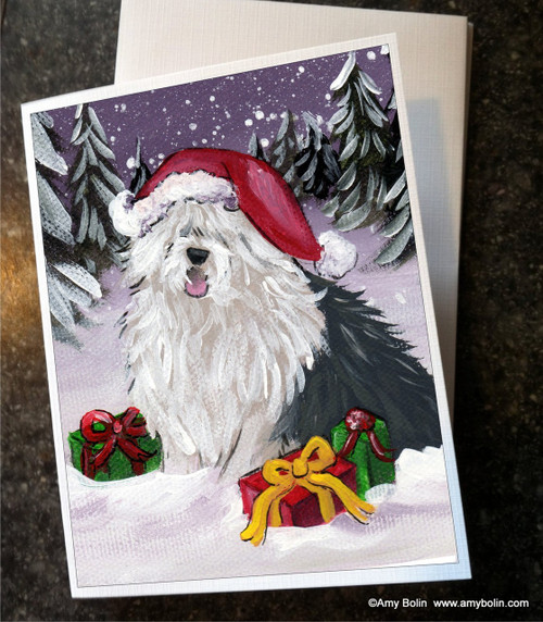 """""""Merry Christmas"""" Old English Sheepdog Note Cards"""