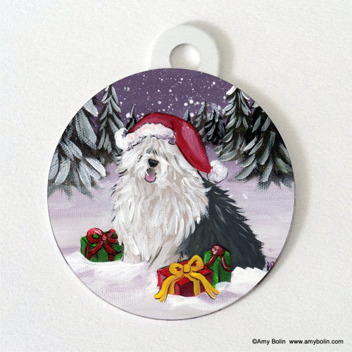 """Merry Christmas"" Old English Sheepdog Pet Tag"