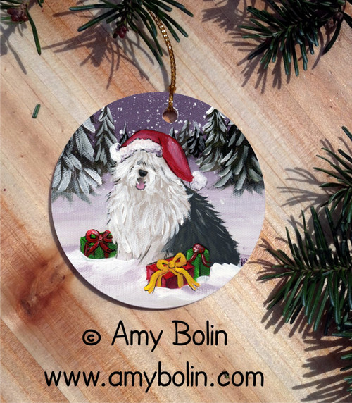 """""""Merry Christmas"""" Old English Sheepdog Round Ornament"""