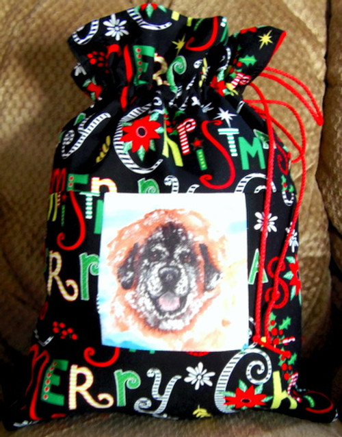 """Whimsical holiday Small  """"13"""" by 9 1/2""""    Handmade Gift Bag          """"Bently's Snow Day""""          Leonberger Dog     By Dawn Johnson"""