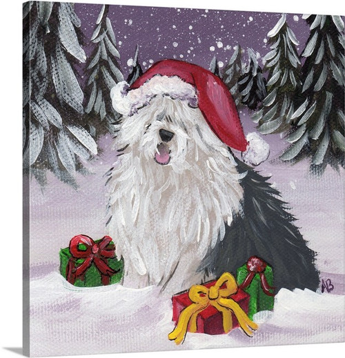 """""""Merry Christmas"""" Old English Sheepdog Canvas PRINT Several sizes available"""