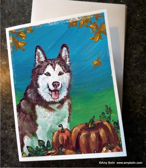 """""""Autumn's Simple Pleasures"""" Siberian Husky Note Cards"""