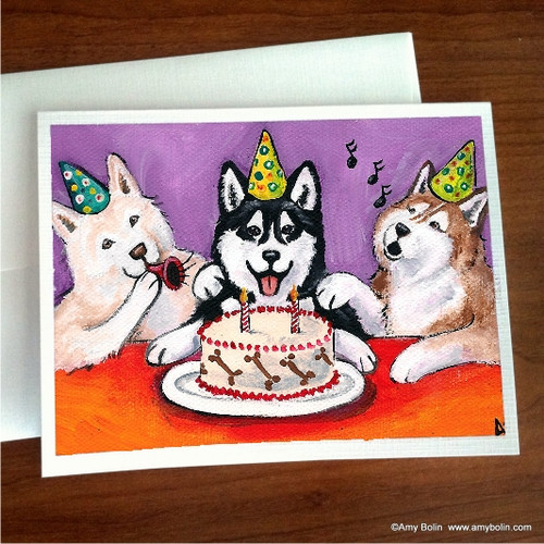 """Birthday:  Happy Birthday To You"" Siberian Husky (brown eye) Note Cards"
