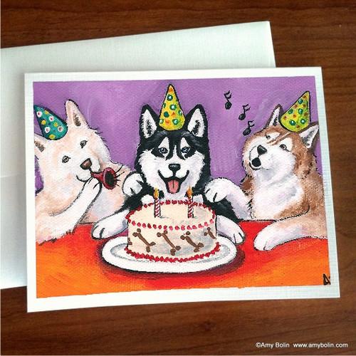 """Birthday:  Happy Birthday To You"" Siberian Husky (blue eye) Note Cards"