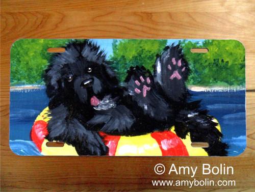"""Dog Days"" Black Newfoundland License Plate"