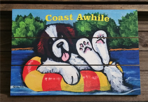 """Just Chillin'""  Saint Bernard wooden cottage style sign"