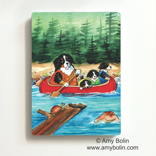 """Berners On The River"" Bernese Mountain Dog Magnet"