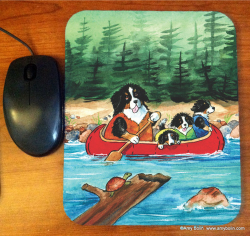 """""""Berners On The River"""" Bernese Mountain Dog Mouse Pad"""