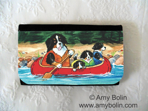 LARGE ORGANIZER WALLET · BERNERS ON THE RIVER · BERNESE MOUNTAIN DOG · AMY BOLIN