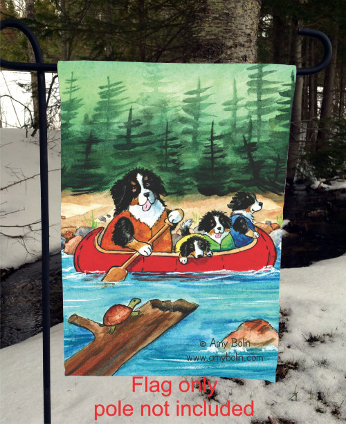 GARDEN FLAG · BERNERS ON THE RIVER · BERNESE MOUNTAIN DOG · AMY BOLIN