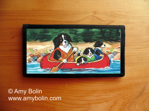 """""""Berners On The River"""" Bernese Mountain Dog Checkbook Cover"""