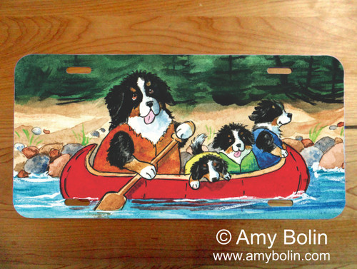 """""""Berners On The River"""" Bernese Mountain Dog License Plate"""