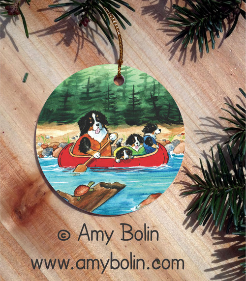 """""""Berners On The River"""" Bernese Mountain Dog Ceramic Ornament Round"""