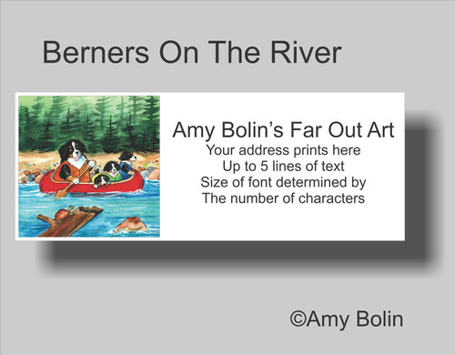"""Berners On The River"" Bernese Mountain Dog Address Labels"