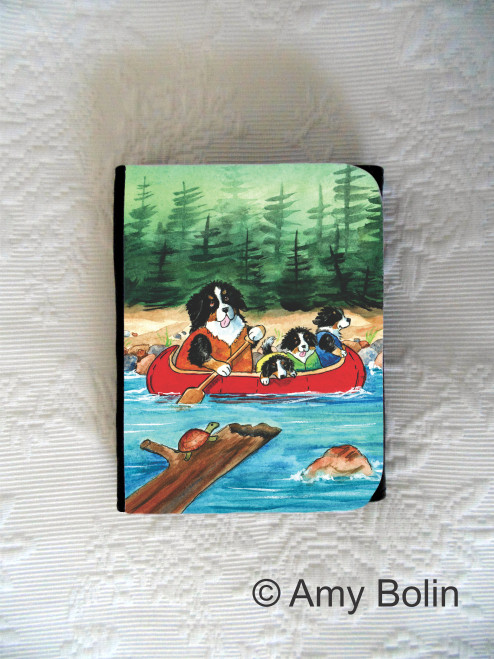 SMALL ORGANIZER WALLET · BERNERS ON THE RIVER · BERNESE MOUNTAIN DOG  · AMY BOLIN