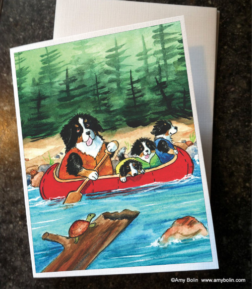 """Berners On The River"" Bernese Mountain Dog Note Cards"