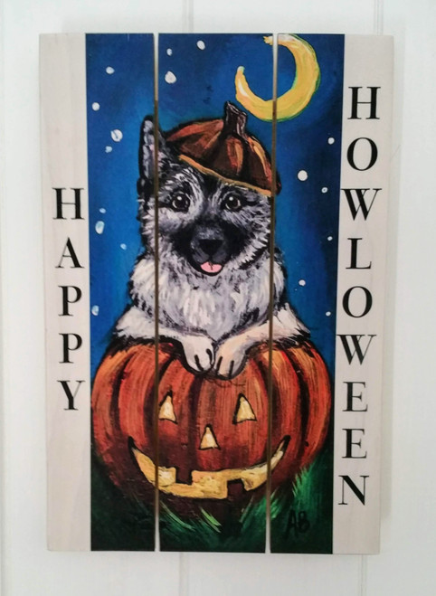"""Happy Howloween"" Norwegian Elkhound Halloween wooden cottage style sign"