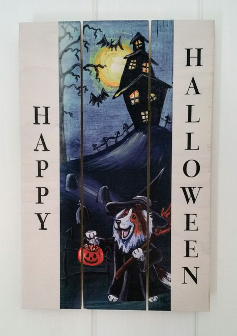 """Trick Or Treat"" Sable Shetland Sheepdog Halloween wooden cottage style sign"