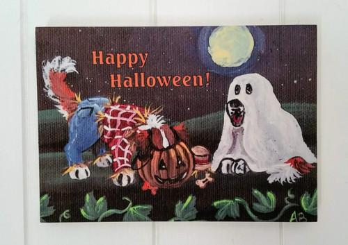 """The Loot"" Saint Bernard Dog Halloween wood block print"