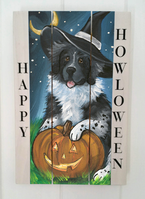 """Happy Halloween"" Landseer Newfoundland Halloween wooden cottage style sign"