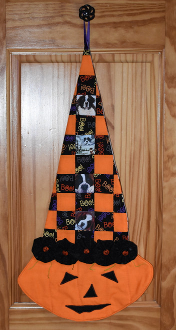 """Quilted/Handmade Halloween wall hanging        """"Autumn and Halloween Saint Bernard Dog pictures """"      By Dawn Johnson"""