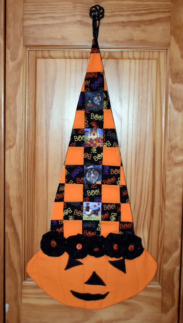 "Quilted/Handmade Halloween wall hanging        ""Autumn and Halloween Shetland Sheepdog pictures ""      By Dawn Johnson"