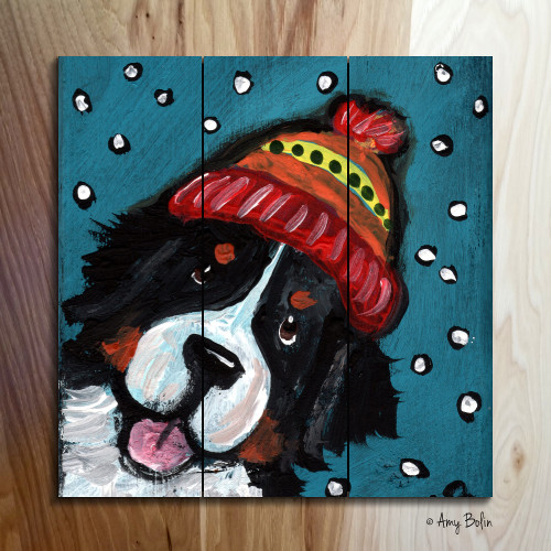 """Snowy Weather"" Bernese Mountain Dog wooden cottage style sign"