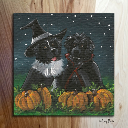 """Trick Or Treat"" Black and Landseer Newfoundlands wooden cottage style sign"