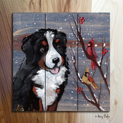 """Winter Buddies"" Bernese Mountain Dog and cardinals wooden cottage style sign"