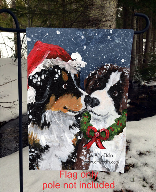 """Christmas Puppy Kisses"" Bernese Mountain Dog, Saint Bernard Garden Flag"