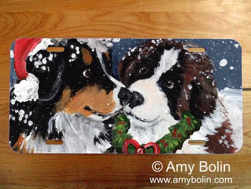 """Christmas Puppy Kisses"" Bernese Mountain Dog & Saint Bernard License Plate"
