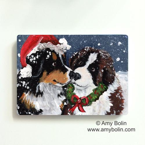 """""""Christmas Puppy Kisses"""" Bernese Mountain Dog & Saint Bernard Magnet"""