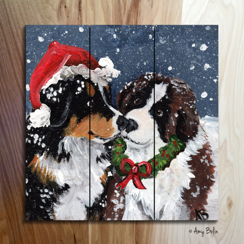 """Christmas Puppy Kisses"" Bernese Mountain Dog & Saint Bernard wooden cottage style sign"