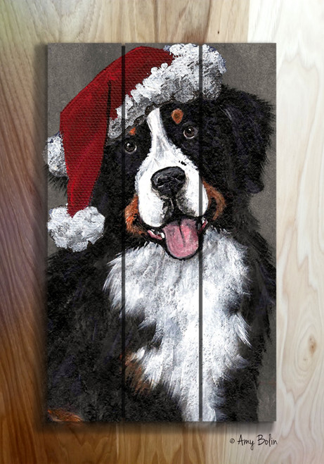 """Merry Merlin"" Bernese Mountain Dog wooden cottage style sign"