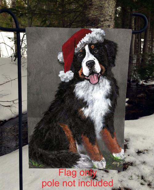 """Merry Merlin"" Bernese Mountain Dog Garden Flag"