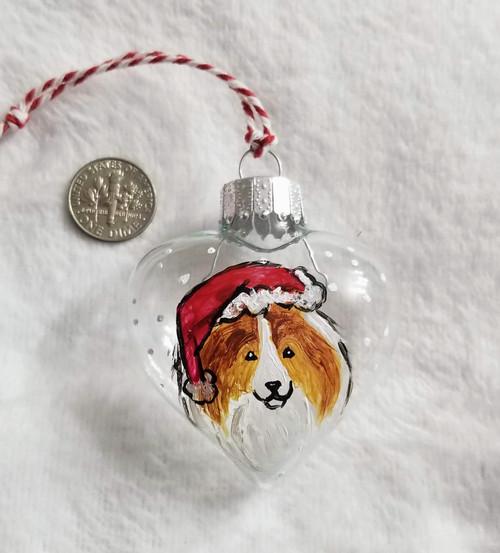 HAND PAINTED Christmas Glass Heart Ornament · Sable Sheltie Santa · Amy Bolin