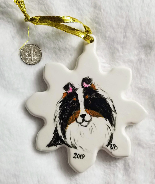 HAND PAINTED Porcelain Snowflake Ornament · Tri Color Shetland Sheepdoog  · Amy Bolin