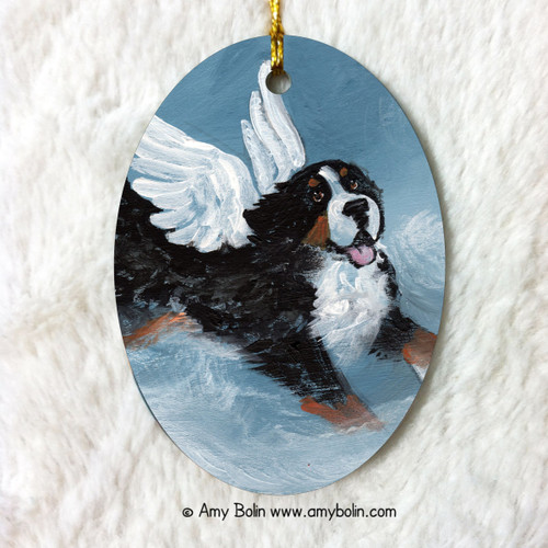 """Playful Angel"" Bernese Mountain Dog Oval Ceramic Ornament"