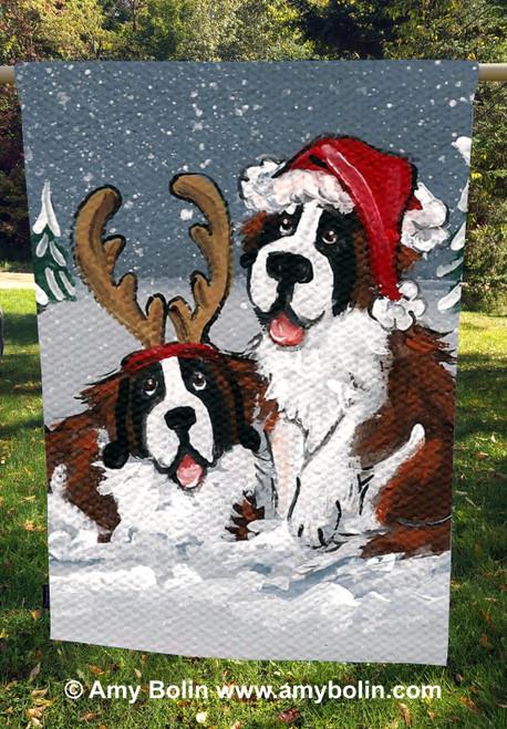 """""""Christmas Buddies"""" Saint Bernard Dogs by Amy Bolin · House Flag"""