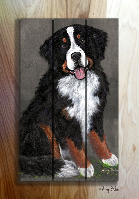 """Merlin"" Bernese Mountain Dog wooden cottage style sign"