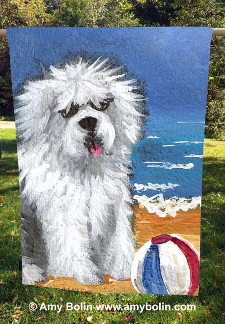 """""""Beach Bum"""" Old English Sheepdog House Flag"""