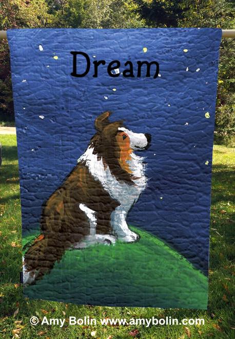 """Dream"" Sable Sheltie House Flag (double ply)"