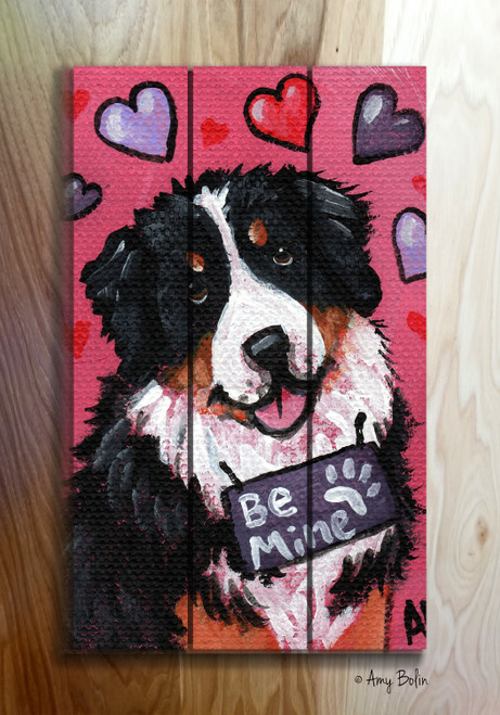 """Valentine: My Valentine"" Bernese Mountain Dog Wooden Cottage Style Sign"