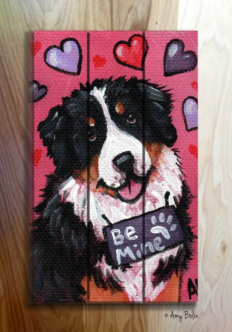 """""""Valentine: My Valentine"""" Bernese Mountain Dog Wooden Cottage Style Sign"""