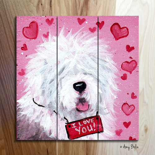 """Valentine: Valentine Kisses"" Old English Sheepdog Wooden Cottage Style Sign"