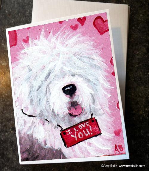 """Valentine: Valentine Kisses"" Old English Sheepdog Note Cards"