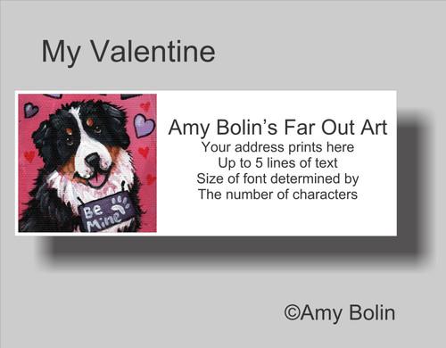 """Valentine: My Valentine"" Bernese Mountain Dog Address Labels"