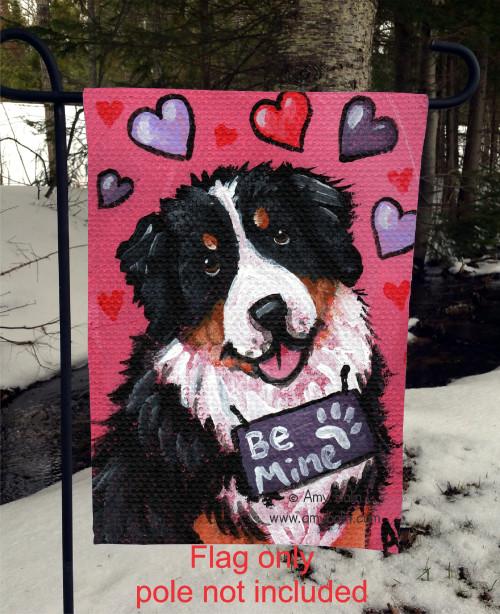 """""""Valentine: My Valentine"""" Bernese Mountain Dog Garden Flag"""