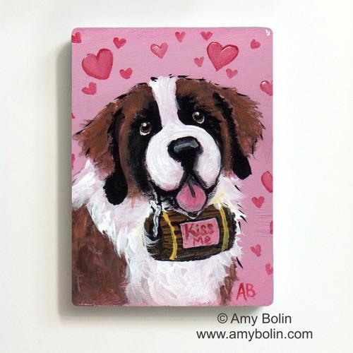 """Valentine: Valentine Kisses"" Saint Bernard Magnet"